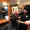 Newburyport: Alexandra Caswell styles Linda Farinelli hair at Spa Paradiso in Newburyport. Jim Vaiknoras/staff photo