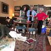 Newburyport: Elizabeth Petty , Rosamond Smith, Judy Wilkinson,Kim Mack and Wanda Blanchard, all from the Newburyport Garden Club prepare to decorate the Cushing House in Newburyport Friday. Jim Vaiknoras/staff photo