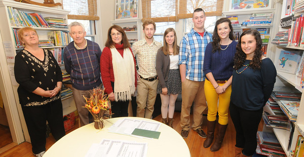 Newburyport: Winners of the first city wide writing contest sponsered by teh Newburyport Commission for Diversity and Tolerance, from the left Linda Geary-Keenan. John Carroll, Joyce Lee, Clayton Vye. Megan Little, John Baribeault, Miriam McClung and Sarah Jaqz. Jim Vaiknoras/staff photo