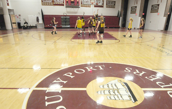 Newburyport: The Newburyport High girl JV basketball team runs through some  drills at the high school Thursday. JIm Vaiknoras/staff photo