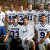 georgetown: Georgetown Football seniors: bottom from left, Kenny Haskell, Niko Edwards. and Allan Navarro. back. Dave Le Blance, Angel Sauguintin, Christian Gesualdi, Tom Zargas, Tim Dillion and Kane Johanson. Jim Vaiknoras/staff photo