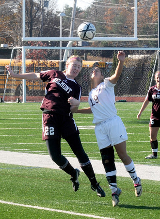 Lynn: Newburyport's Jaycie Triandafilou fights for the ball during the  Clippers1-0 overtime  loss to Belmont Saturday at Manning Field in Lynn. Jim Vaiknoras/staff photo