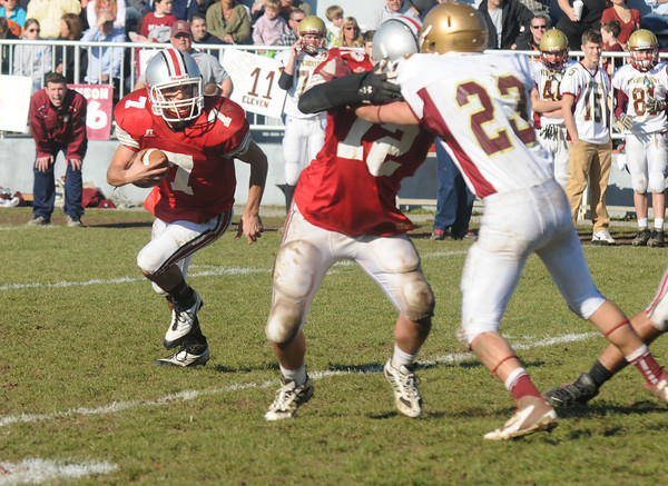 Amesbury: Amesbury's Matt Talbot looks for yardage during Amesbury's 13-10 victory against Newburyport Thursday. JIm Vaiknoras/staff photo