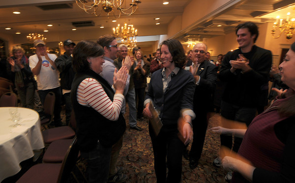 Haverhill: Kathleen O'Connor Ives is greeted by her supports at DiBurros in Haverhill after winning  a seat in the State Senate. Jim Vaiknoras/staff photo