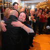 Haverhill: Kathleen O'Connor Ives hugs State Rep Mke Costello  at DiBurros in Haverhill after winning a seat in the State Senate. Jim Vaiknoras/staff photo