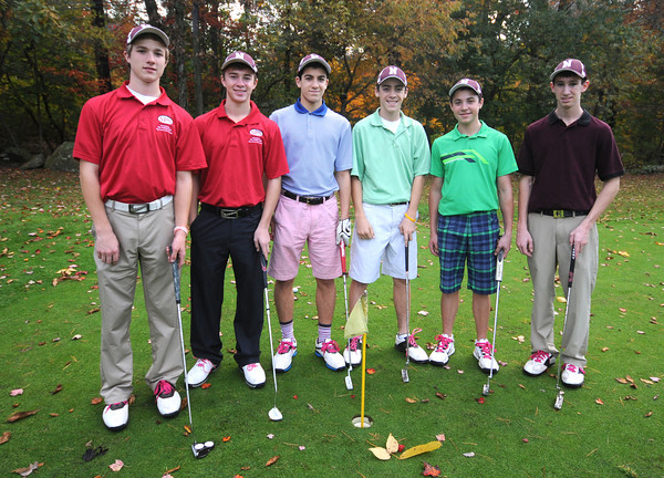 Rowley:the Newburyport Golf Team from the left:  Brendan Crowther, George Pantlis, Ben Ventura, Kyle Bushnell, Travis Koocher and Mike Sweeney on the practice green at Rowley Country Club. Jim Vaiknoras.staff photo