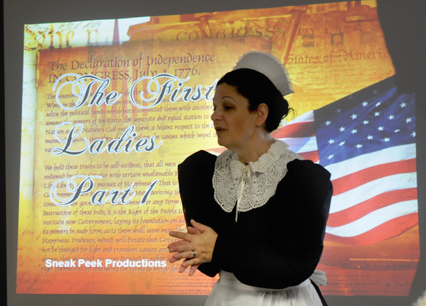 Salisbury: Patricia Perry of Sneak Peek Productions gives a presentation about the First Ladies of the United States at the Assisted Living Center<br /> in Salisbury Friday afternoon. Jim Vaiknoras/staff photo