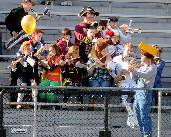 Newburyport: The Newburyport high band dressed up for Halloween for the Clippers football game against Saugus at War Memorial Stadium in Newburyport Saturday. Jim Vaiknoras/staff photo