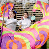 Byfield: Flag twerlers with the Triton band perform at halftime of the Viking's game at home against Swampscott Saturday in Byfield. Jim Vaiknoras/staff photo