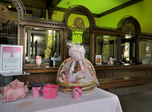 Newburyport: Breast cancer display at the Institution for Savings in Newburyport. Jim Vaiknoras/staff photo