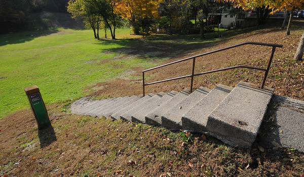 Newburyport: Crumbling steps at Marchs Hill in Newburyport. Jim Vaiknoras/staff photo