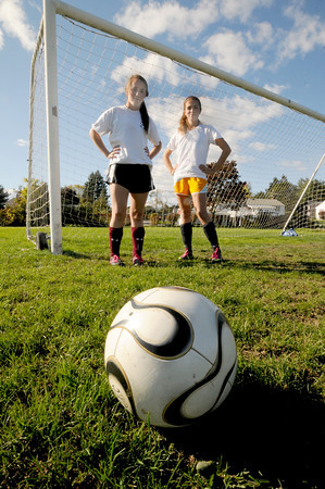 Newburyport: Newburyport soccer defenders Jackie Krusemark and Aly Leahy. Jim Vaiknoras/staff photo