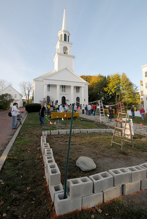 "Amesbury:  A temporary shelter takes shape at the Main Street Church in Amesbury Saturday night. The church held ""Help Us Build for Haiti""  Fundraiser to raise money for a mission to Haiti in April. Jim Vaiknoras/staff photo"