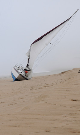 Newbury: A sailboat that beached on Plum Island Friday night. JIm Vaiknoras/staff photo