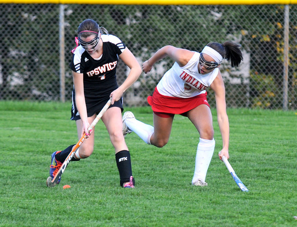 Amesbury: Amesbury's Amanda Schell fights for the ball with Ipswich's Maddi Hill during their game at Amesbury High Friday afternoon. Jim Vaiknoras/staff photo