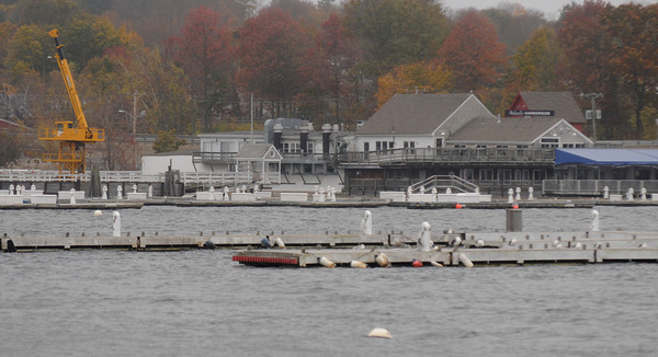 Newburyport: Docks sit empty of boats along the Newburyport waterfront in anticipation of Hurrican Sandy. Jim Vaiknoras/staff photo
