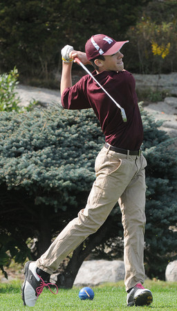 Rockport: Newburypport's Kyle Bushnell tees of at the first hole during the Clippers match against Rockport at Rockport Country Club Monday. Jim Vaiknoras/staff photo