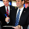 Seabrook: US Senator Marco Rubio of Florida, right, made a campaign stop at Brown's Lobster Pound in Seabrook at a rally for Republican candidates, especially Ovide Lamontagne who's running for New Hampshire governor. Close to 200 showed up for the rally where they were treated to chowder after the speakers finished. Bryan Eaton/Staff Photo