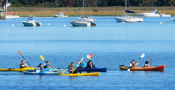 Newburyport: Students from the Nock Middle School kayak in the Merrimack River off of Water Street. They have been doing studies of the Merrimack River ecosystem. Bryan Eaton/Staff Photo