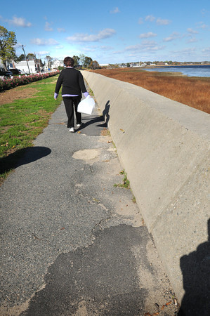 Newburyport: Joppa Park in Newburyport recently had some upgrades including new plantings and fencing, though the side is patched pieces of asphalt. Bryan Eaton/Staff Photo