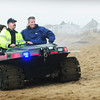 Newbury: Newbury Police Deputy Chief John Lucey takes US Senator Scott Brown for a tour on the Plum Island beach to look at any damage incurred by Hurricane Sandy, along with State Senator Bruce Tarr, Newburyport Mayor Holiday and Newbury town administrator Tracy Blais. Bryan Eaton/Staff Photo