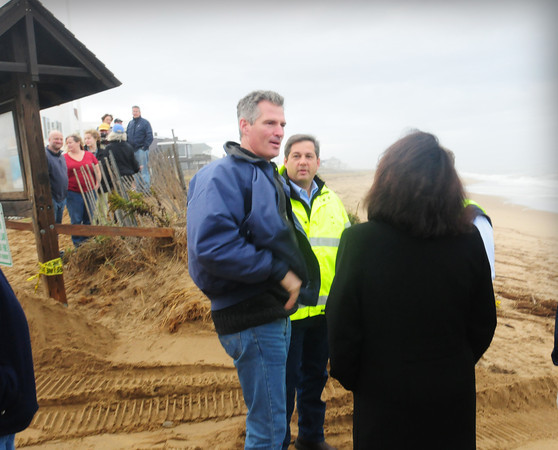 Newbury: Senator Scott Brown toured Plum Island with State Senator Bruce Tarr and Newburyort Mayor Donnda Holaday to look at damage from Hurricane Sandy. The stop was one of several for the junior senator around the eastern part of the state. Bryan Eaton/Staff Photo