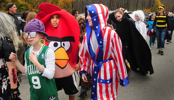 Newbury: Students at Newbury Elementary School paraded around the driveway for parents on Wednesday afternoon for their annual Halloween Parade. Bryan Eaton/Staff Photo