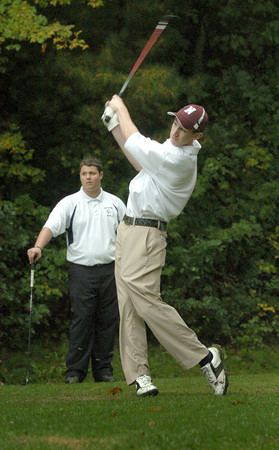 Rowley: Newburyport's Mike Sweeney tees off against Triton. Bryan Eaton/Staff Photo