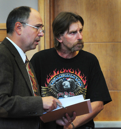 Newburyport: Paul Carson, right, appears in Newburyport District Court with attorney Anthony Papoulias. Carson is accused of a rape at the Topsfield Fairgrounds. Bryan Eaton/Staff Photo