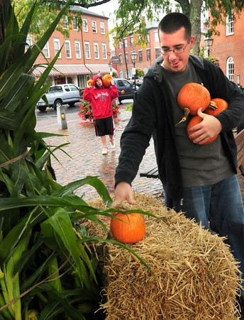 Newburyport: Jeff Maddaleni puts pumpkins on hay bales in Newburyport Market's Square, one of a dozen of volunteers from Link House putting up the decorations. They were helping the Newburyport Chamber of Commerce ready for the weekends Fall Harvest Festival. Bryan Eaton/Staff Photo