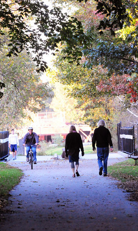 Newburyport:  Bicyclers, pedestrians along with dog walkers were on the Clipper City Railtrail late yesterday afternoon. Bryan Eaton/Staff Photo