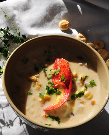 Newburyport: Roasted Corn and Lobster Chowder. Bryan Eaton/Staff Photo