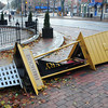 Newburyport: The marquee of the Firehouse Center in downtown Newburyport was blown over by Hurricane Sandy. It has been removed since photo was taken. Bryan Eaton/Staff Photo