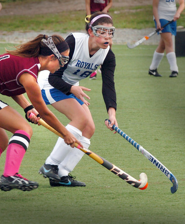 Amesbury: Newburyport's Kate McCauley and Georgetown's Casey Learner move to get control of the ball at the Amesbury Sports Park yesterday. Bryan Eaton/Staff Photo