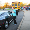 Newburyport: Maria Hogan gets out of a Ferrari at Nock Middle School as most of her classmates took the bus to school Wednesday. She won the luxury mode of transportation at last year's Newburyport Education Foundation's annual auction. Bryan Eaton/Staff Photo