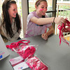 Newburyport: Sam Wahlgren, 18, left and Liz Fiascone, 17, sell pink shoelaces at lunch at Newburyport High School to raise breast cancer awareness. Bryan Eaton/Staff Photo