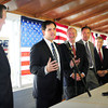 Seabrook: US Senator from Florida Marco Rubio stopped at Brown's Lobster Pound in Seabrook to campaign for Republicans including candidate for governor Ovide Lamontagne, left, yesterday afternoon as the election season comes to a head. Also appearing were past New Hampshire governors, from Rubio's left, Steve Merrill, Craig Benson and John Sununu and state senator Nancy Stiles. Bryan Eaton/Staff Photo