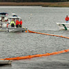 Newburyport: Several local and state agencies participated in a drill off Cashman Park in Newburyport laying two booms in the Merrimack River. The training for any possible oil spills or other hazards including the discs that floated downriver last year from a spill of a wastewater plants in Hooksett, N.H. Bryan Eaton/Staff Photo