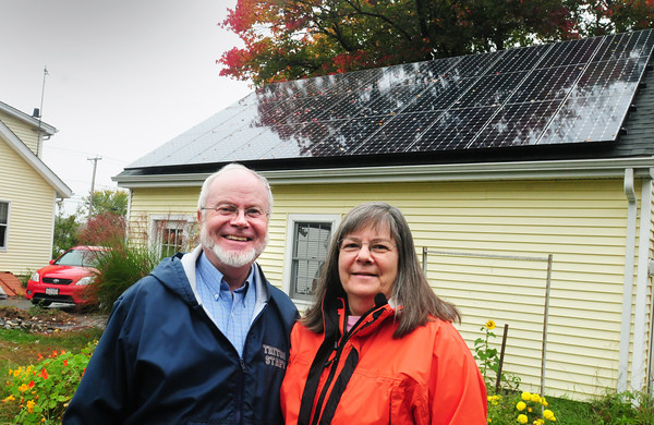 Salisbury: Ray and JoAnn Whitley have solars panels on their Salisbury garage and a geothermal component in the cellar of their home. Bryan Eaton/Staff Photo