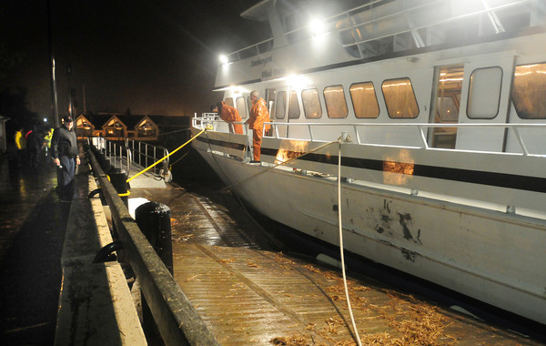 Newburyport: The Newburyport-based whale watching boat Prince of Whales tied up at Newburyport's waterfront damaged some docking during the rough waves of Hurricane Sandy on Monday night. City officials and the US Coast Guard were on hand as the decision was made to keep the craft tied up instead of possibly moving upriver. Bryan Eaton/Staff Photo