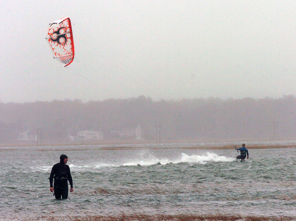 Seabrook: Kite boarders were out near Brown's Lobster Brown on Route 286 in Seabrook in the Black Water River. Bryan Eaton/Staff Photo