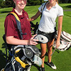 Haverhill: Young ladies are making their way into local high school golf teams with their fellow male students. Newburyport's Juliana Noce, left, and Pentucket's Krystal Knight were at a match at the Haverhill Country Club on Wednesday afternoon. Missing from photo was Newburyport player Nina Harrington. Bryan Eaton/Staff Photo