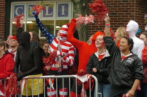 Amesbury: Amesbury High School seniors get in the spirit before the Fireball Run drivers come into the downtown yesterday. Bryan Eaton/Staff Photo