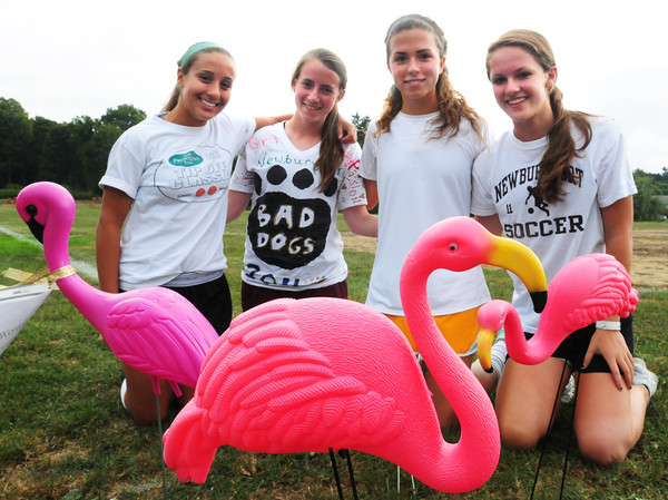 Newburyport: Principals of a pink flamingo fundraising campaign for Newburyport soccer program, from left, Jaycie Triandafilou, Jackie Krusemark, Aly Leahy and Carly Brand. Bryan Eaton/Staff Photo
