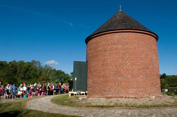 Newburyport: Well over 100 people, including students from the Nock Middle School, attended the dedication to the Powder House Park and Learning Center in Newburyport yesterday, which located behind the National Guard Armory on Low Street. Bryan Eaton/Staff Photo