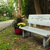 Salisbury: A memorial bench for Salisbury firefighter Lt. Timothy Oliveira at the entrance to the Old Eastern Marsh Railtrail at Mudnock Road across from where he lived. Bryan Eaton/Staff Photo