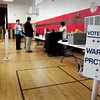 Newburyport: Voting was light at lunch hour yesterday, this precinct at the Bresnahan School had barely over 100 votes cast. Bryan Eaton/Staff Photo