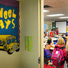 Amesbury: Students file in to Sarah Pelletier's second grade classroom on Monday as classes started at Amesbury Schools. Bryan Eaton/Staff Photo
