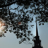 Newburyport: Late afternoon sun reflects off the steeple of the Unitarian Church on Inn Street in Newburyport on Thursday afternoon. With chilly nights of late, it's not hard to imagine these leaves falling, though today is supposed to hit 90 degrees. Bryan Eaton/Staff Photo
