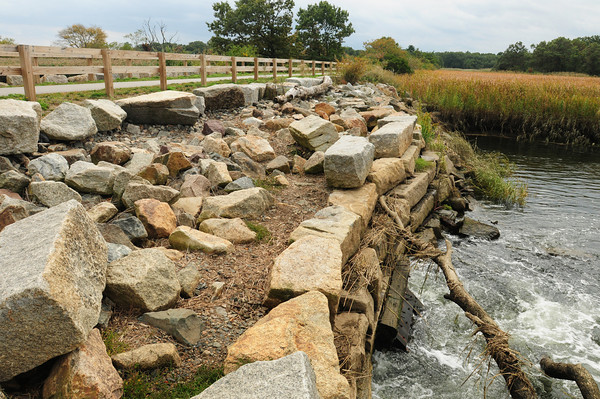 Salisbury: This tidal gate at Town Creek in Salisbury, which was destroyed in the flooding of 2007 and was rebuilt temporarily, is getting a more permanent structure. The fence along the top is the Old Eastern Marsh Railtrail. Bryan Eaton/Staff Photo